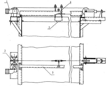 Это...  Рис.2.1. Схема буксировочной системы: 1-электропривод; 2-ведущий шкив; 3-направляющая балка...